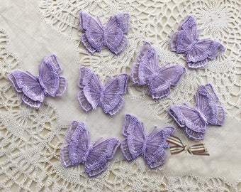 4.8CM*4CM wide 20pcs  purple 3D organza butterfly embroidery lace appliques patches L14M139 free ship