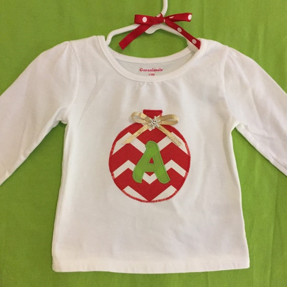 Christmas ornament initial appliqué top for infant & toddler girls