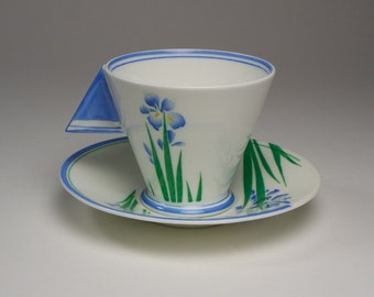 Rare 1930s Art Deco Shelley China Mode Iris cup and saucer