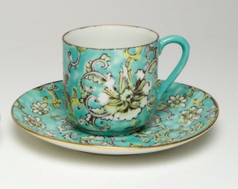 Vintage Chinese eggshell porcelain cup and saucer