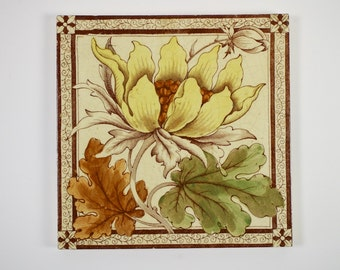 Antique Victorian hand coloured transfer printed pottery tile