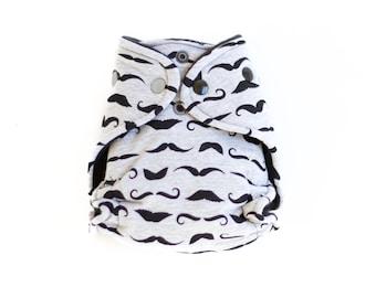 Newborn Hybrid Fitted Cloth Diaper -Mustache - Hispter - Monochrome - Grey - Black - Stache - I mustache - Gift - Baby Shower - present
