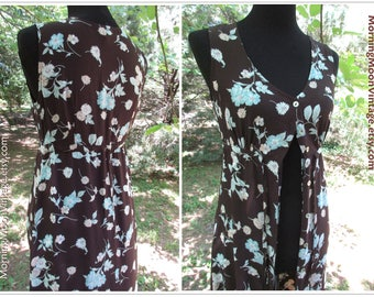 Vintage DUSTER DRESS, BOHO maxi, Long Sleeveless Maxi in Brown & Blue, 90s does 30s rayon floral print button-down, Hippie Gypsy Festival