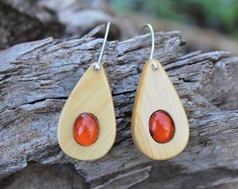 Australian Sandalwood & Baltic Amber Earrings - Sterling Silver Drop Earrings - Hand Made in Australia
