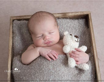 Newborn teddy bear, newborn bear prop, newborn lovey photo prop, newborn stuffed teddy bear, newborn photo prop, photography teddy bear prop
