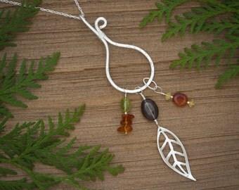 Gemstone necklace, Leaf necklace, Boho dangle necklace, colorful stone necklace, Autumn necklace,