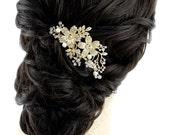 Rhinestone Gold Bridal Hair Comb, Gold Wedding Hair Piece, Crystal Gold Hair Pin, Gold Glam Old Hollywood Wedding Hair Accessory