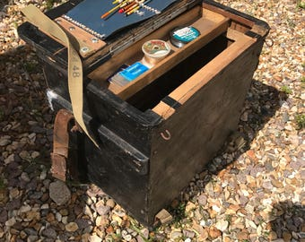 Vintage Wooden Fishing Tackle Seat Box