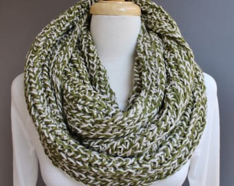 Olive Green Cream knit infinity scarf chunky variegated yarn soft chunky knit circle endless loop long scarf cabled scarf fall winter marled