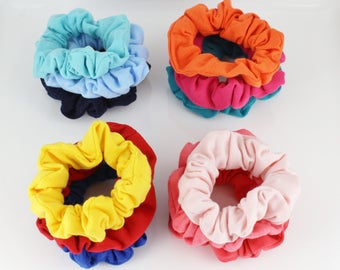 pack of 3 jersey fabric stretch ponytail holders scrunchies scrunchy hair ties set of 3 scrunchies