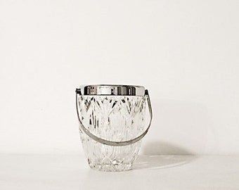60s vintage ice bucket real Crystal with silver color and graphic glass embossing metal handle