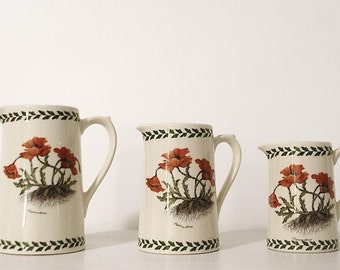 Pitchers (x 3) vintage earthenware with poppies 'Papaver rhoeas' illustrations. Handmade
