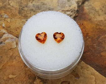 0.85ct Matched Pair Brazilian Madeira Citrine Heart Cut Gemstones **New Arrival**