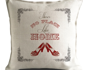 Wizard of Oz Cushion Cover - Ruby Slippers no place like home quote - Dorothy - Home Decor - 40cm 16 inch