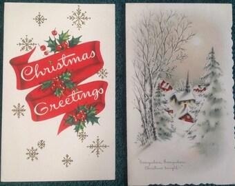 VTG Christmas card ( pair )