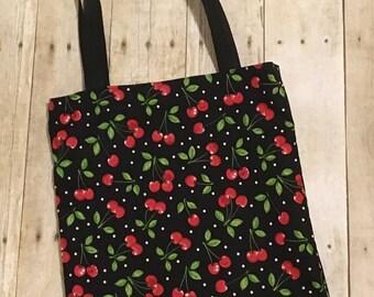 Cherry tote bag - Black Cherries bag - Fruit tote - Tote bag for her - Fabric tote bag - Cotton tote bag - Grocery bag - Shopping bag