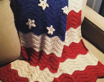 American Flag Throw   American Flag Afghan   Crochet Blanket   Crochet American Flag   Crochet Blanket   Handmade Blanket   Crochet Throw