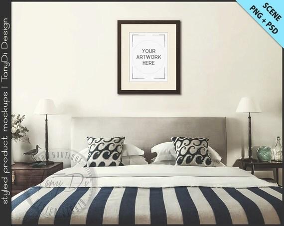 Bedroom styled interior 2 dark wood frame mockup 8x10 for 8x10 bedroom