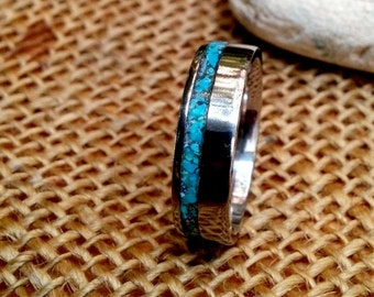 Turquoise Titanium Ring Band.  6mm, 8mm Wide.