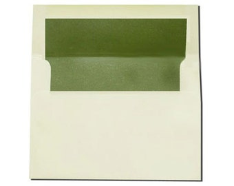 20 A7 Cream with Olive Green Pearl Lined Envelopes