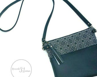 Black and white boho crossbody purse