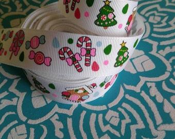 Christmas Ribbon, Candy Cane Ribbon, Grosgrain Ribbon, Bow Ribbon, Holiday Ribbon