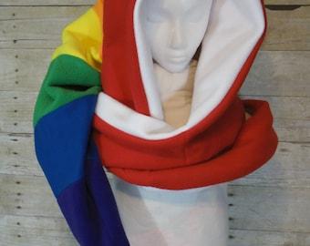 Fleece Rainbow Elf Hood / Fleece Pixie Hood / Fleece Scoodie