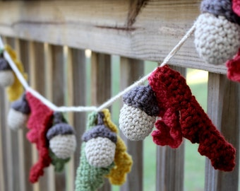 Woodland Acorn Garland // Crochet // Handmade // Free Shipping