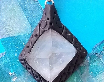 Rare Stunning APOPHYLLITE CRYSTAL Specimen PENDANT In Molded Lava Rock, Stunning Necklace With Silver Chain and Gift Box