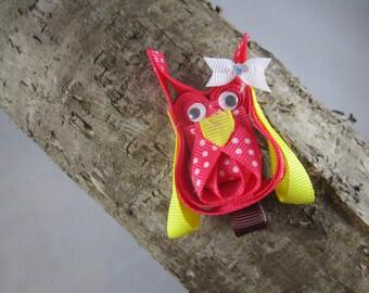 NEW hot pink owl ribbon art hair clip