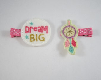 NEW dream big dream catcher handmade felt embroidered hair clip set
