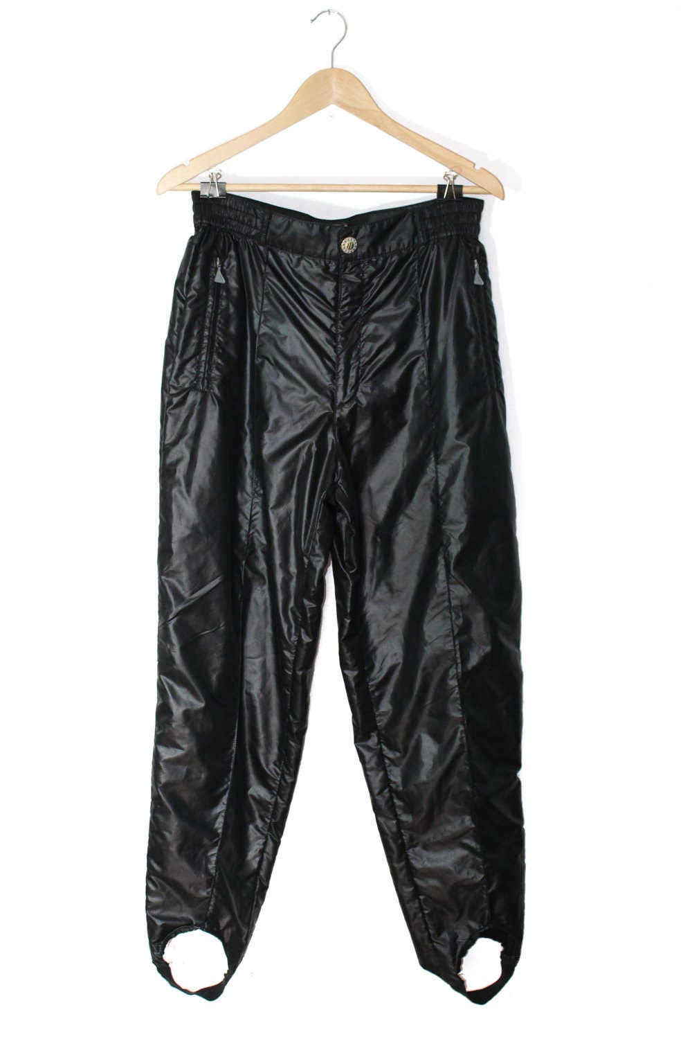 1980s parachute pants shiny black pants stirrups aesthetic