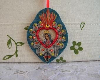 Scapular Medal Sacred Heart Fabric Scapular Beaded Catholic Religious Charm Pendant Gift