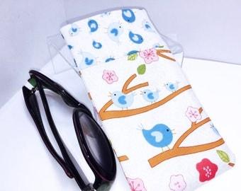 Songbirds Sunglasses Pouch, Cute Glasses Case, Eyeglasses Case, Minimalist Glasses Case, Soft Glasses Case