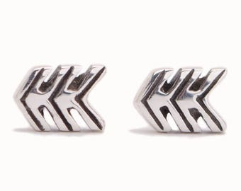 Three Arrows Stud Earrings Sterling Silver Earrings Bohemian Jewelry - CST005SSO M11