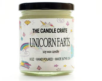 Unicorn Farts 8 Ounce Soy Wax Candle Hand Poured Highly Scented Eco Friendly
