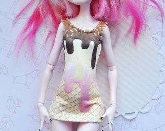 Monster doll clothes Handmade sweet ice cream super mini dress for MH