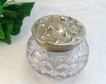 Vintage crystal repousse dresser jar