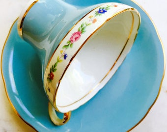 Aynsley Sky Blue Corset Shape Floral Banded Tea Cup and Saucer