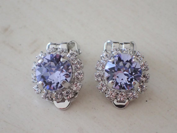 Provence Lavender & Clear Crystal Halo Clip On Earrings, Silver