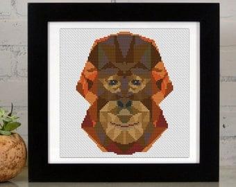 Geometric Orangutan  - Low Poly Art - Counted Cross Stitch Kit