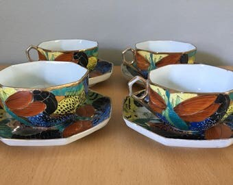 Stunning set of 4 Japanese bone china hand painted octagonal tea cups / saucers circa 1940s featuring dragonflies and tropical flowers!