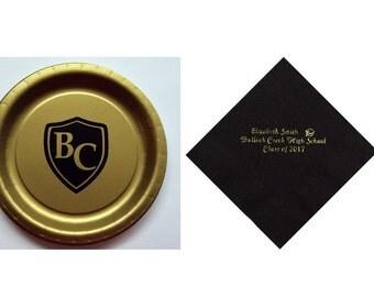 Bullock Creek Lancers Plates, Bullock Creek personalized Graduation napkins, Bullock Creek logo, Lancers logo