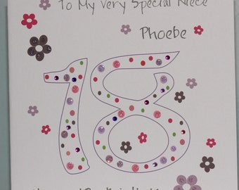 Lovely Personalised Handmade 18th Dots and Flowers Birthday Card.  Daughter, Granddaughter, Niece, Sister, Friend, Goddaughter, Aunt, Cousin
