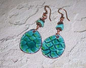 Enameled Copper Dragon Scale Earrings with Turquoise