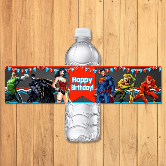 Superhero Drink Label Chalkboard * Superhero Water Bottle Label * Superhero Party Favors * Superhero Birthday * Justice League Party