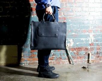 Leather Laptop Bag, Black Leather Messenger Bag