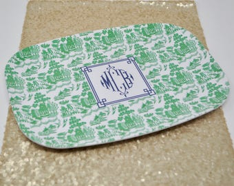 Monogrammed/Personalized Green Chinoiserie Melamine Tray
