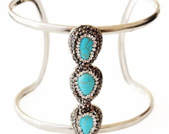 Turquoise Set in Handmade Clay Statement Cuff Bracelet with Crystal Accents