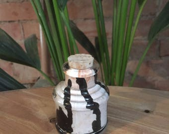 Vintage Hand Formed Painted Glass Bottle Black/White/Copper